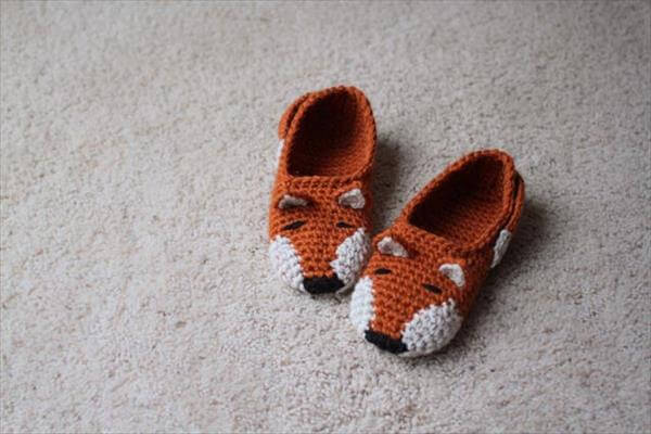 hand crocheted fox shoes pattern