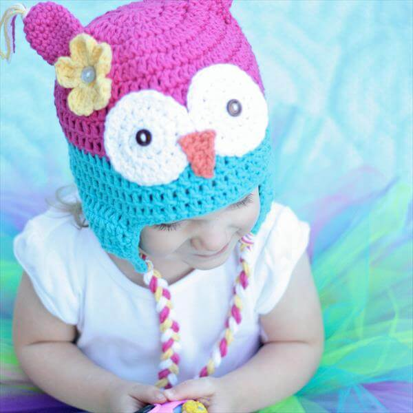 chic blue and purple crochet baby owl hat
