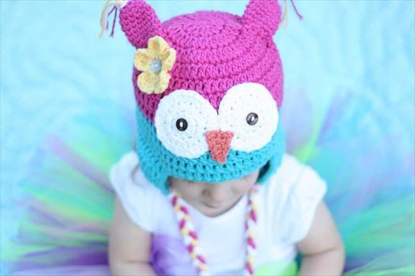 diy crochet owl baby hat