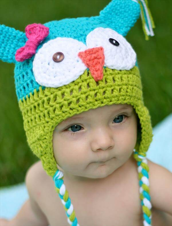 Crochet Pattern For Newborn Owl Hat : 10 DIY Cute Kids Crochet Hat Patterns 101 Crochet