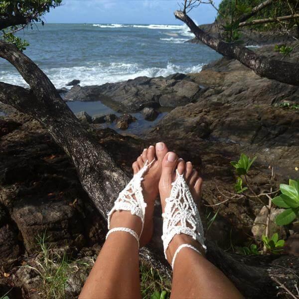 simple barefoot crochet sandals