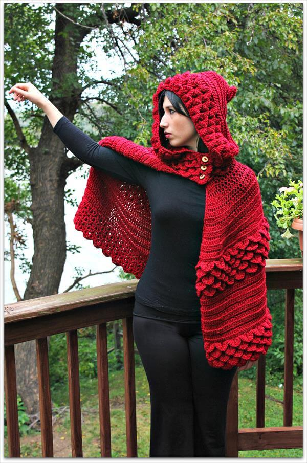 red crochet hooded cape