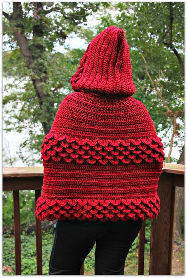 diy crochet hooded red cape
