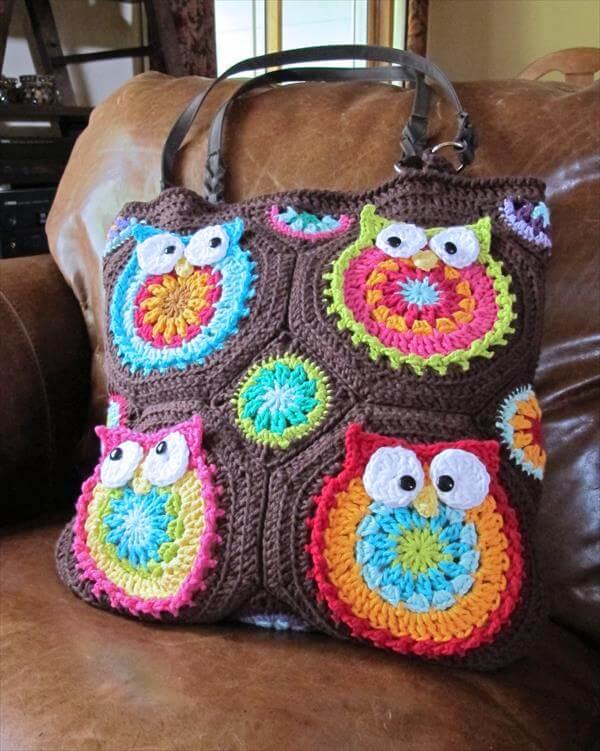 Crochet Owl Bag Pattern Free : DIY Crochet Owl Tote Pattern 101 Crochet