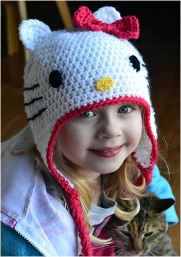 Crochet Kitty Cat Hat Pattern : 10 DIY Cute Kids Crochet Hat Patterns 101 Crochet