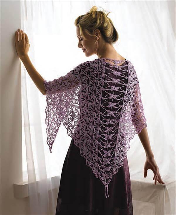 modern dragonfly crochet shawl