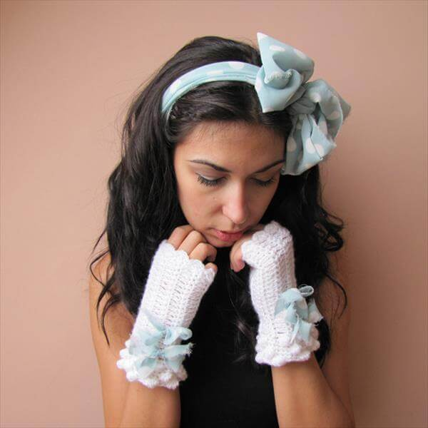 free white crochet fingerless gloves