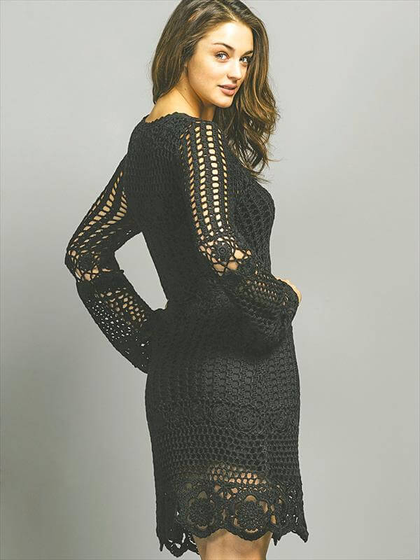 chic black crochet fashion dress pattern