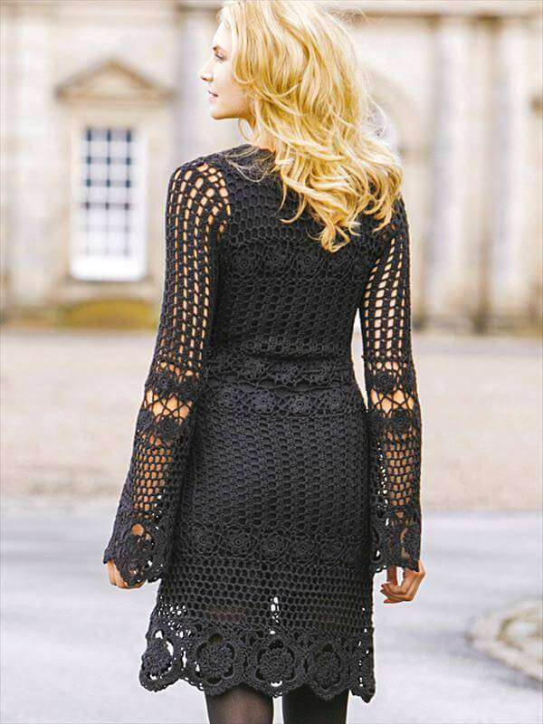diy crochet black fashion dress