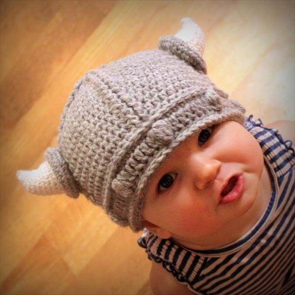crochet viking hat for kids
