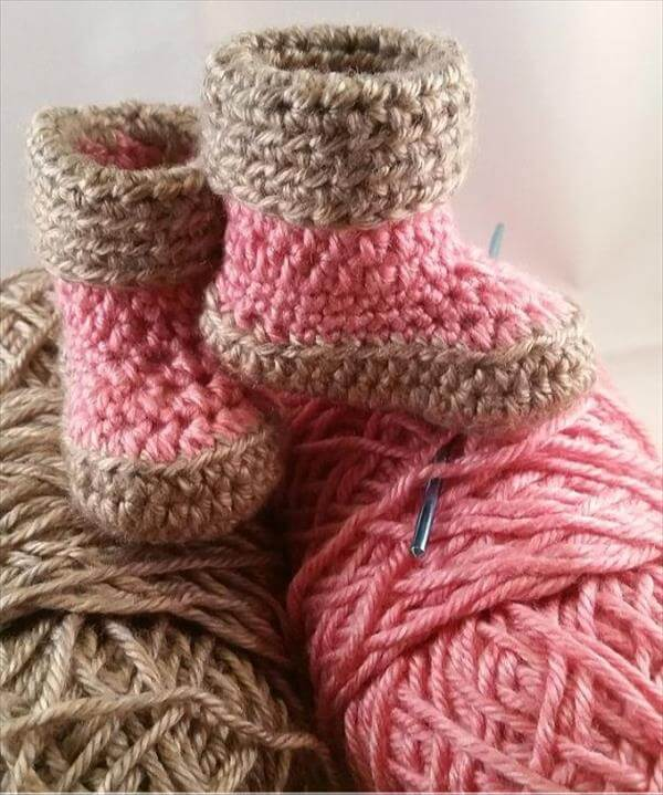 kids crochet slipper boots pattern