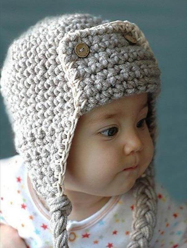 Knitting Pattern For Baby Pilot Hat : 10 DIY Cute Kids Crochet Hat Patterns 101 Crochet
