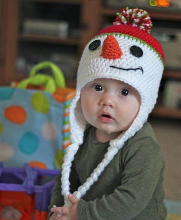 cute snowman crochet baby hat pattern
