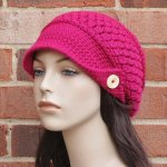 Crochet Slouchy Newsboy Hat / Brimmed Beanie