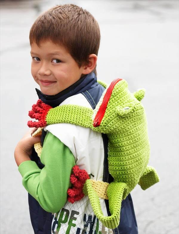 funky crochet frog backpack