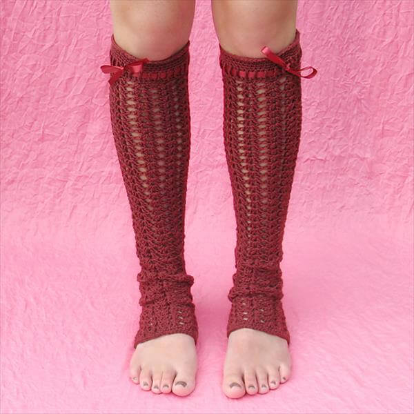 diy red crochet leg warmer pattern