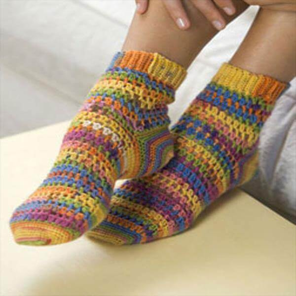 easy crochet sole socks pattern