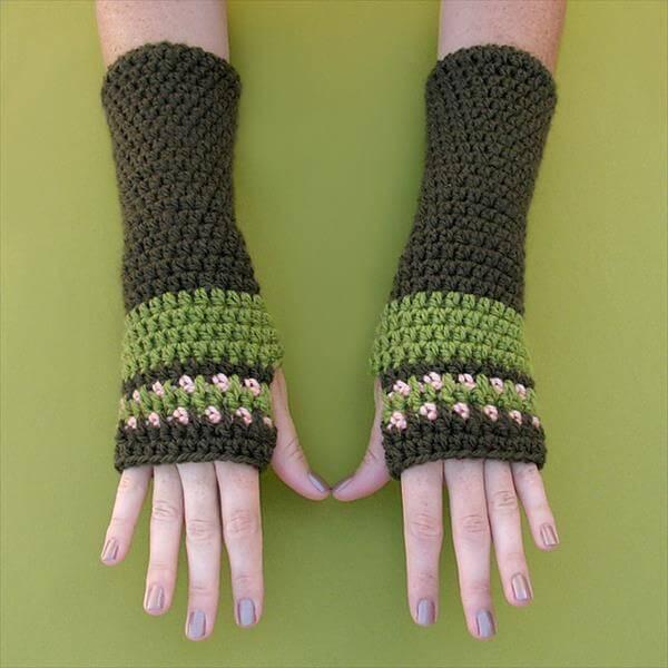 diy crochet arm warmer pattern