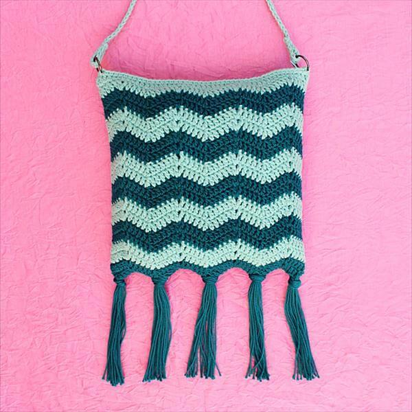 crochet tide fringe bag pattern