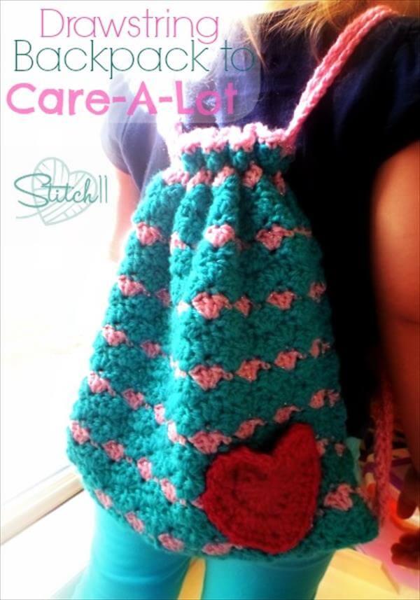 chic crochet drawstring backpack
