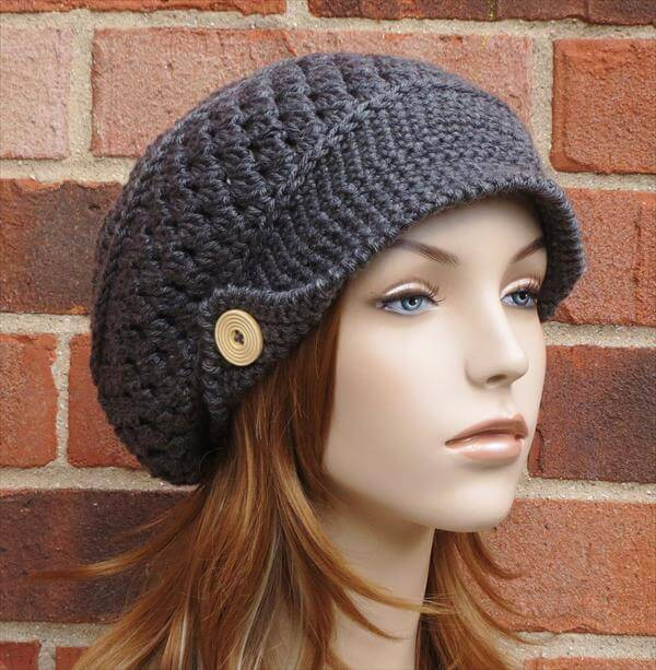 Free Crochet Pattern For Ladies Beanie Hat : Crochet Slouchy Newsboy Hat / Brimmed Beanie 101 Crochet