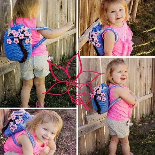 baby girl crochet cherry blossom backpack