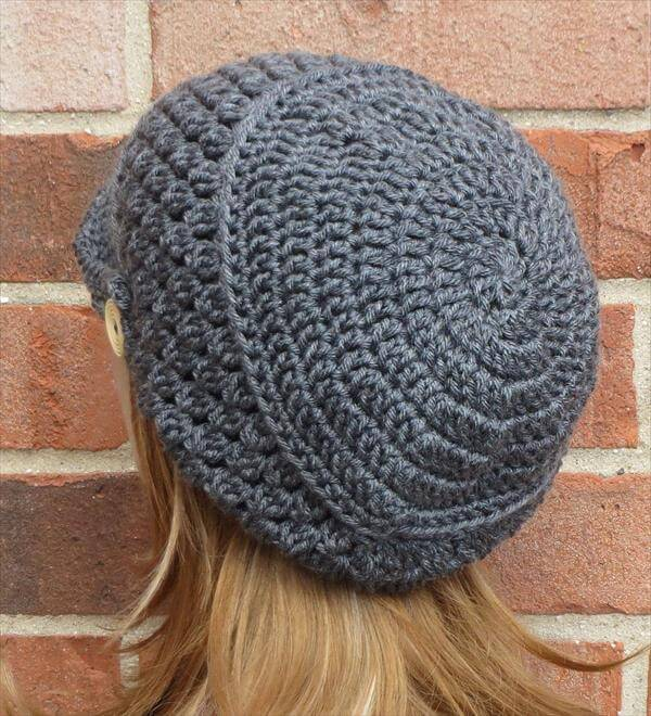 Free Patterns Crochet For Hats : Crochet Slouchy Newsboy Hat / Brimmed Beanie 101 Crochet