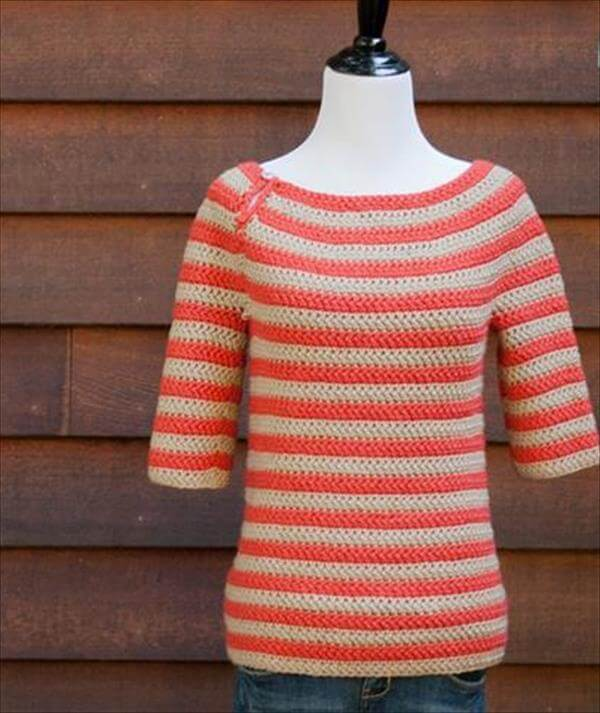 Crochet Top Down Women Sweater 101 Crochet