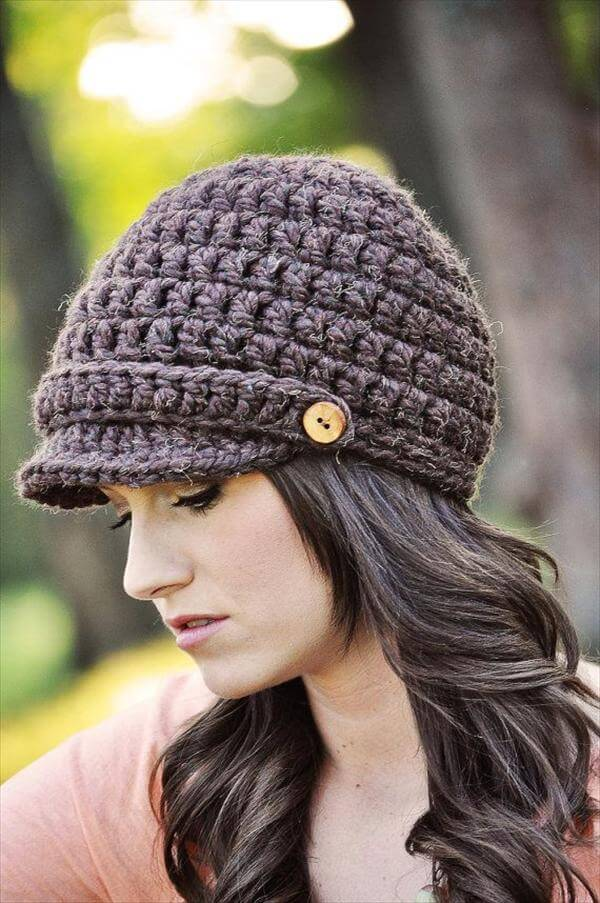 Free Crochet Pattern Beanie With Brim : 10 Easy Crochet Hat Patterns for Beginners 101 Crochet
