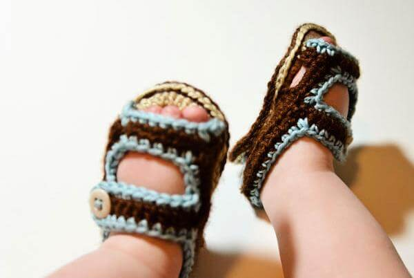 free crochet baby summer sandals