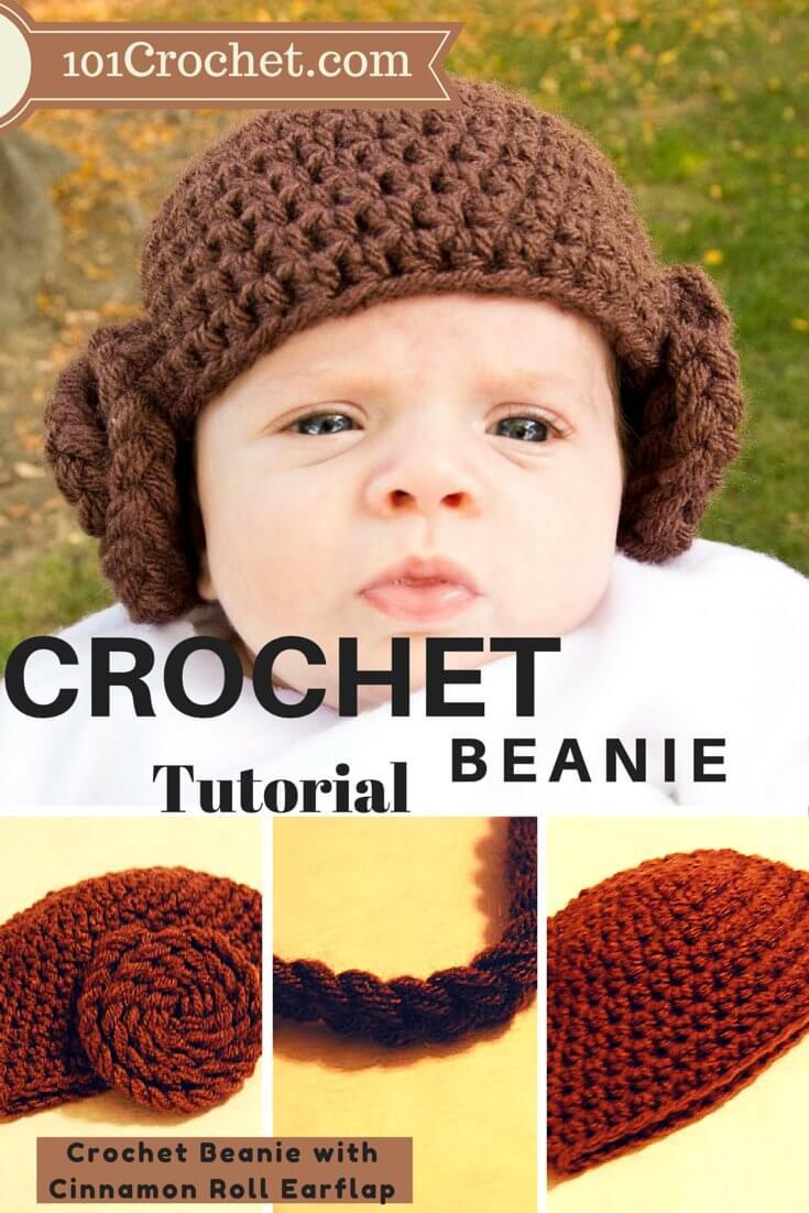 Crochet Beanie with Cinnamon Roll Earflap