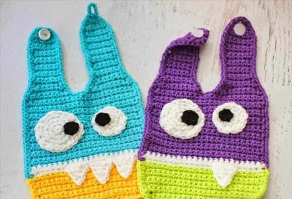 free crochet baby monsters bib patterns