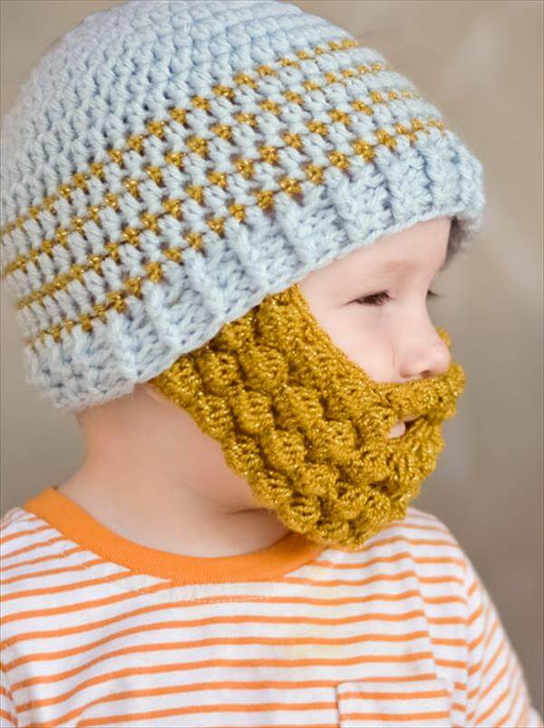 crochet baby bobble beard idea