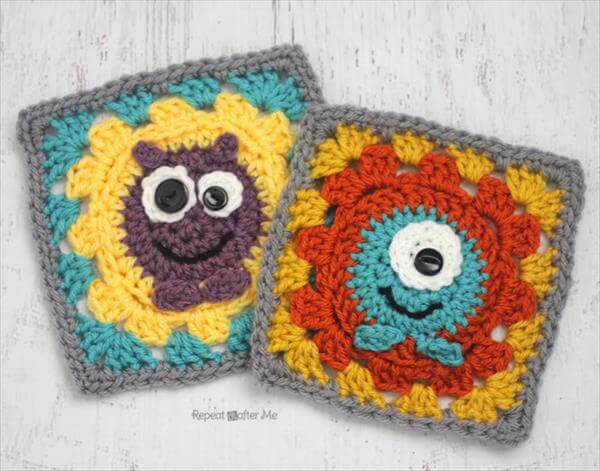 kids crochet monster squares