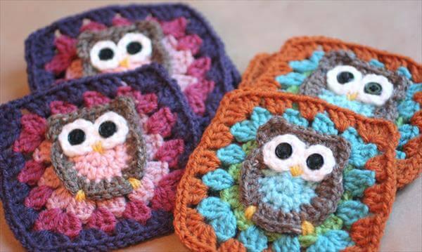 crochet owl granny squares