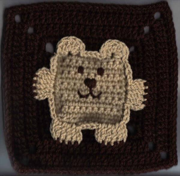 crochet bear granny square