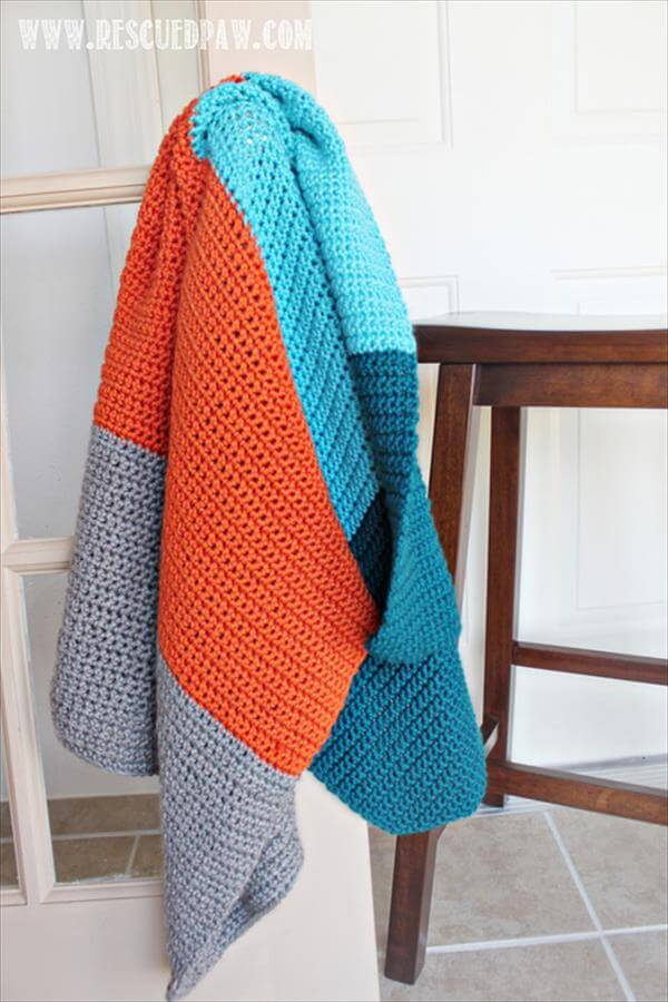 easy crochet color block baby blanket
