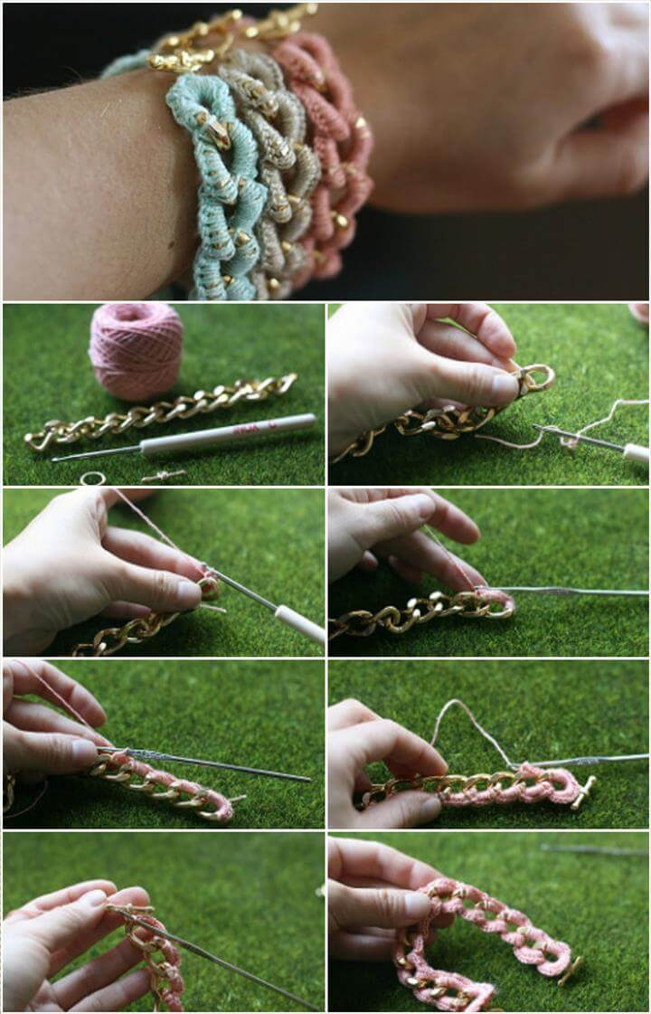 how to crochet a chain bracelet