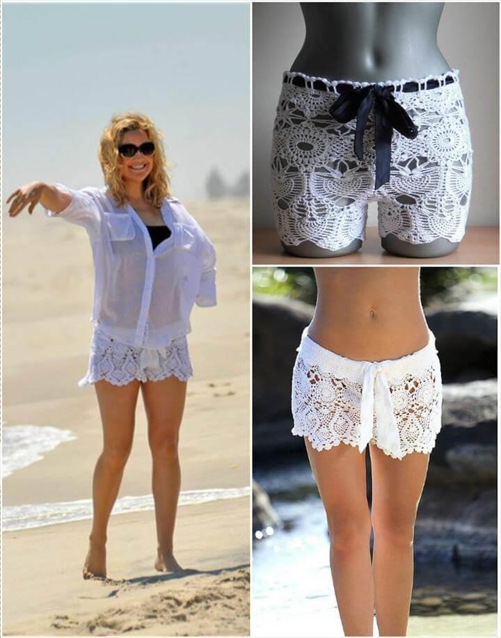easy crochet lace beach shorts