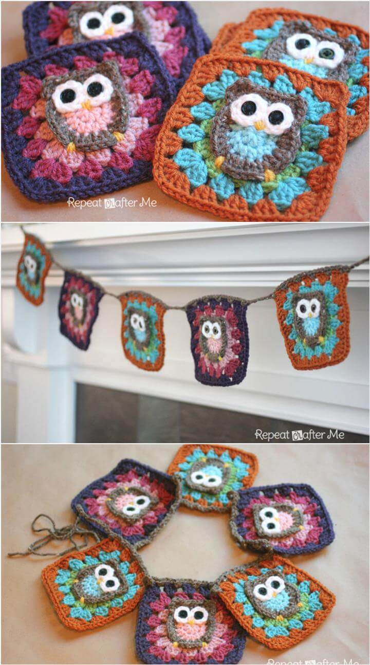 DIY crochet owl granny square patterns