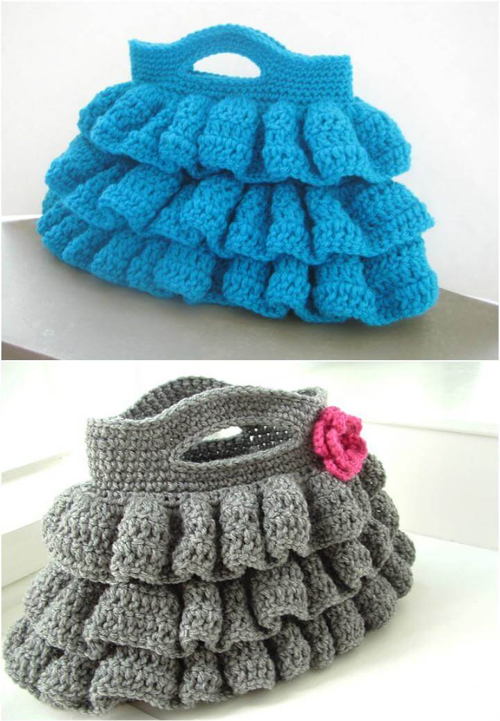 DIY crochet ruffled bag pattern