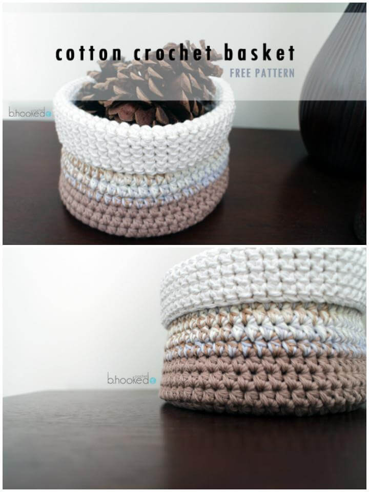 chunky round crochet ombre basket free pattern