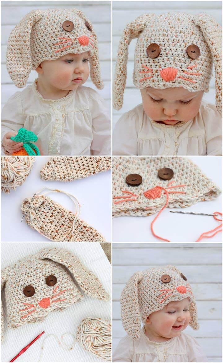 crochet baby bunny hat
