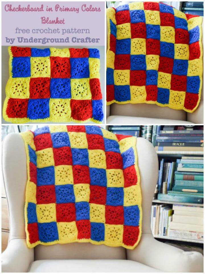 crochet checkboard blanket in primary colors