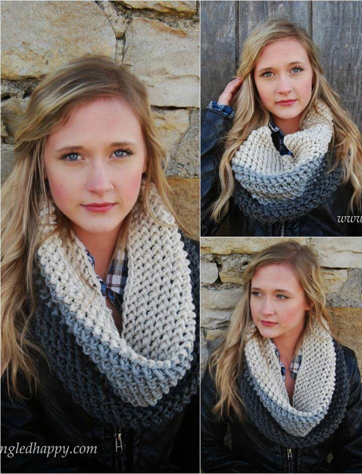 easy crochet chunky block cowl pattern