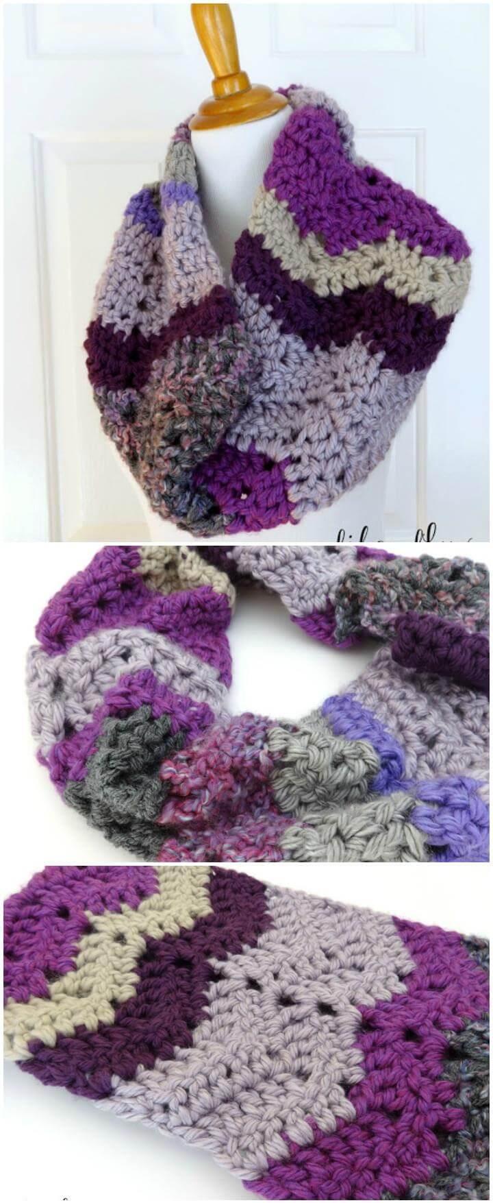 crochet chunky violet stashbuster cowl