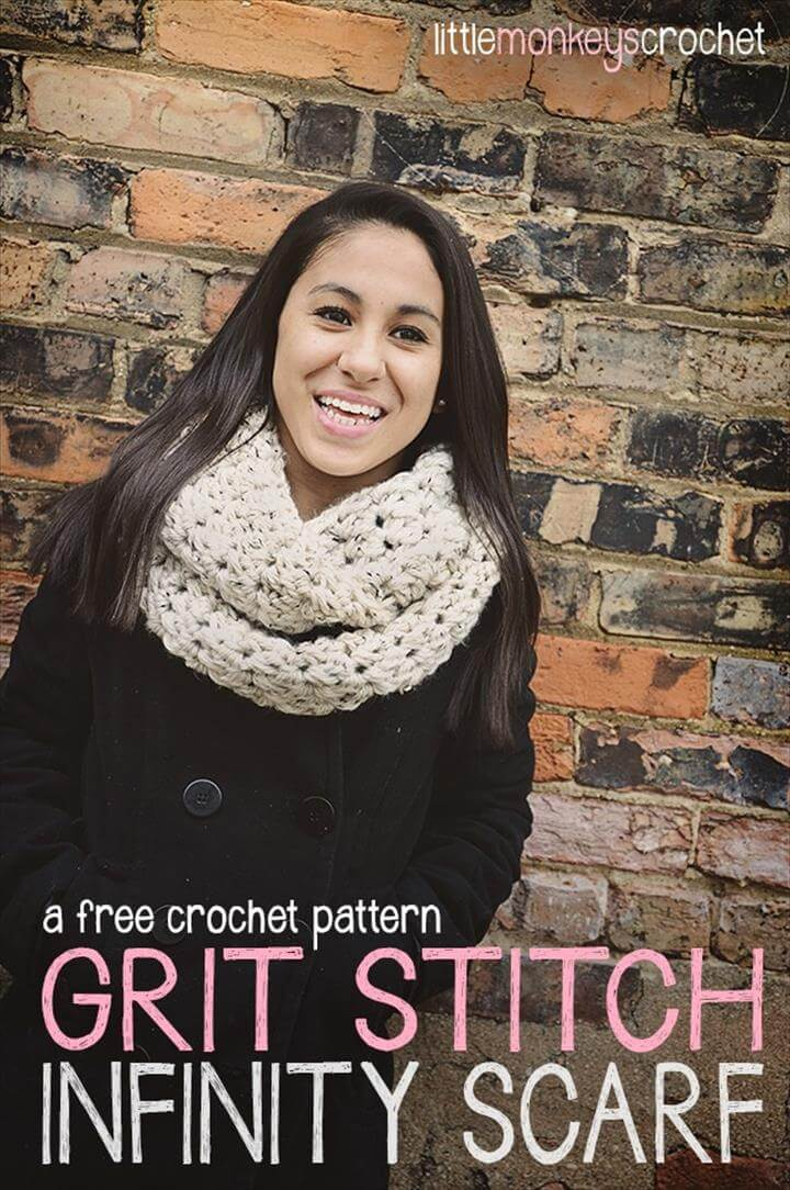 easy crochet grit stitch infinity scarf
