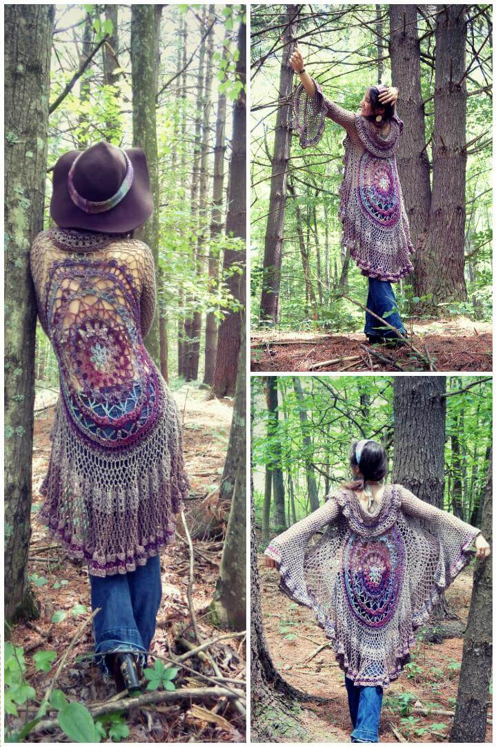 crochet mandala motif sweater
