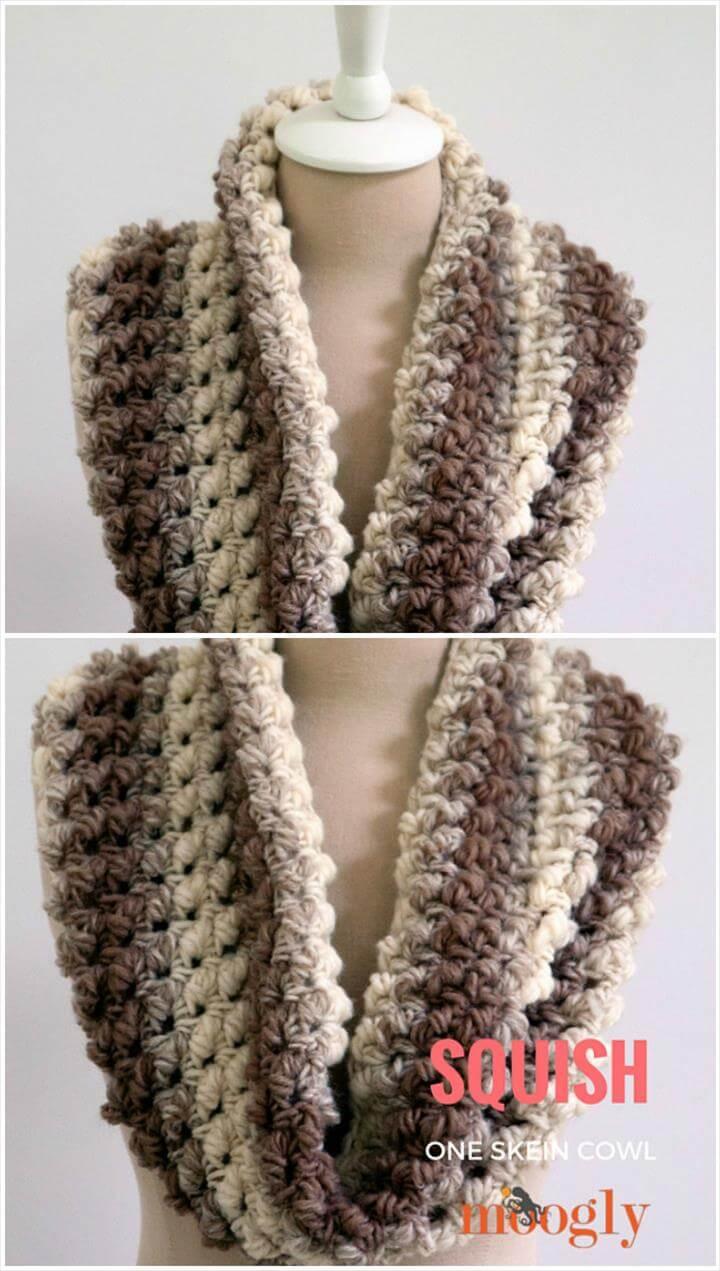 free crochet one skein squish cowl