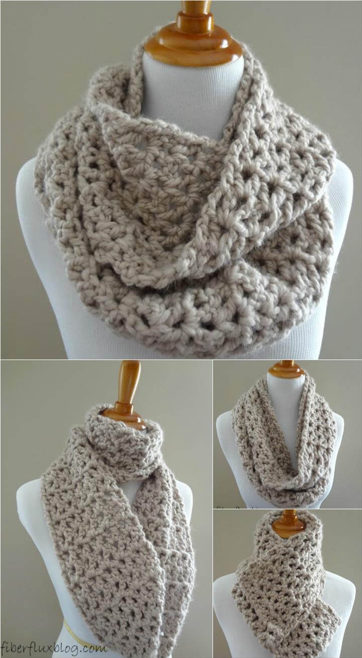 easy crochet pavement infinity scarf pattern